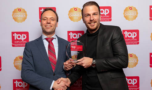 Afbeelding uitreiking CIMSOLUTIONS Top Employer 2019 award